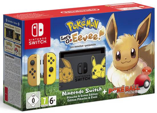 Nintendo Switch Limited Edition + Pokémon Let's Go: Eevee + Poké Ball Plus