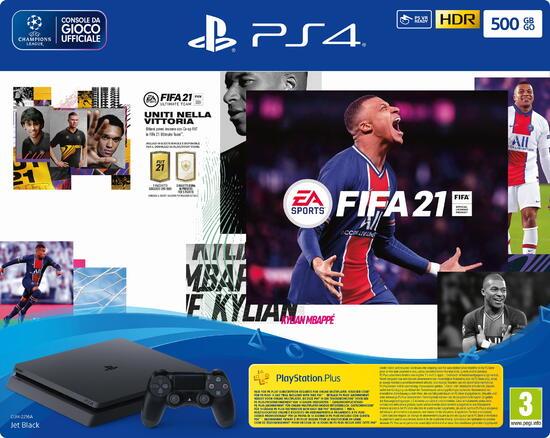 Sony PS4 Slim 500 GB + Fifa 21 + Codice Promo FUT 21