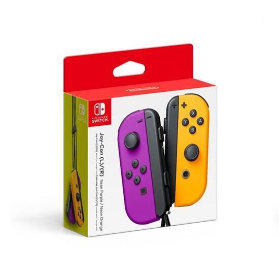 nintendo joy-con controller set viola e arancione neon