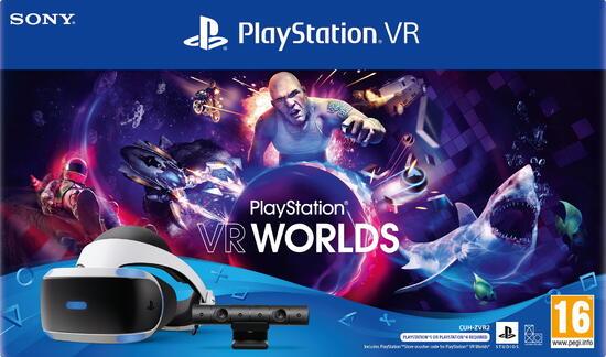 Sony PlayStation VR + PS Camera + VR Worlds + Adattatore PS5