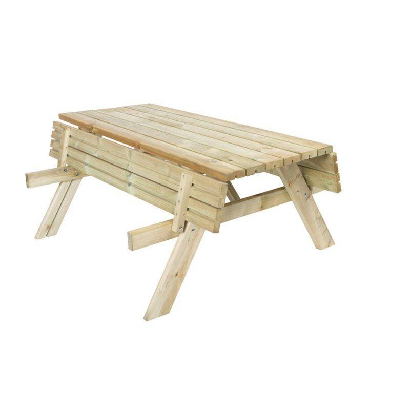 Gardiun Tavolo in legno pic-nic 200x154x74cm con panchine pieghevoli
