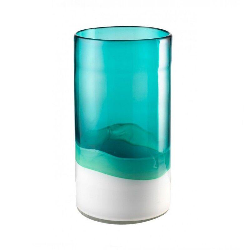 L'Oca Nera Vaso alto bianco acquamarina in vetro soffiato