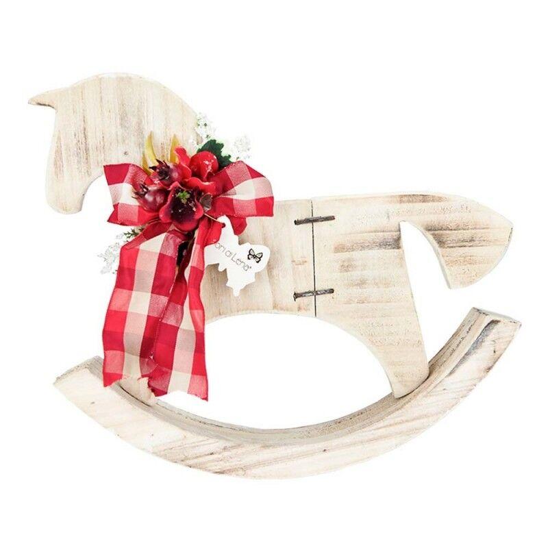 fiori di lena cavallo a dondolo natalizio 27x30 cm