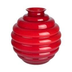 Venini vaso Decò rosso grande Ø26cm in vetro di Murano
