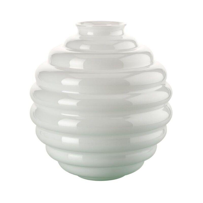 Venini Vaso Decò Lattimo grande Ø26cm in vetro di Murano