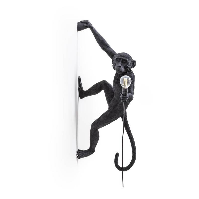 seletti lampada monkey lamp black appesa mano destra