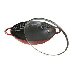 staub wok rosso con coperchio Ø37cm