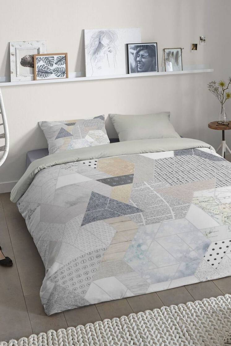 Home grigio double-face biancheria da letto Good Morning Happy 140x200 / 220 cm