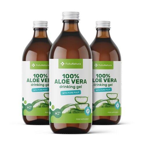 futunatura 3x 100% aloe vera gel, totale 1500 ml
