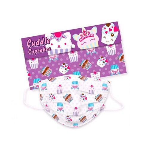 kids licensing mascherine per bambini con cupcake + custodia, 5 pezzi