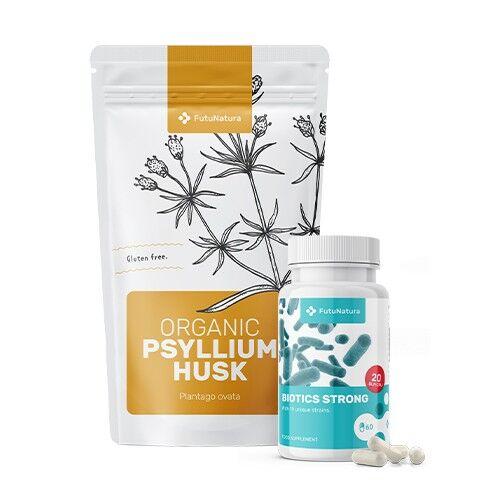 FutuNatura Digestione sana: Probiotici Biotics Strong + BIO Psillio - Plantago ovata, kit