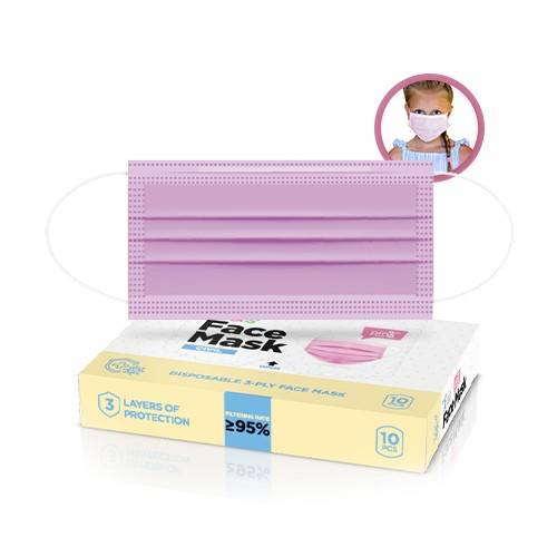 Mascherine per bambini, rosa, 10 pezzi