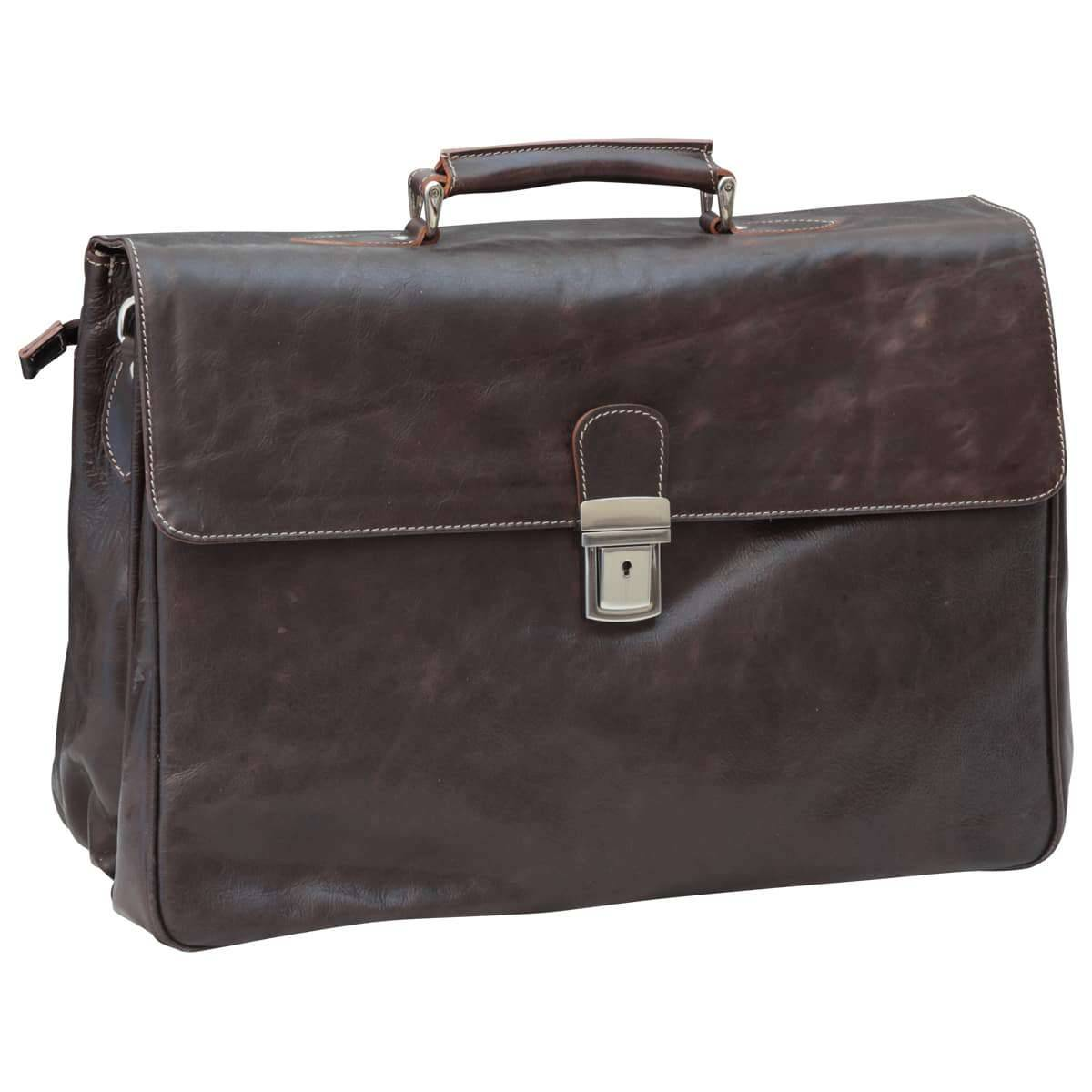 Oiled Calfskin Leather Briefcase with key closure - Dark Brown