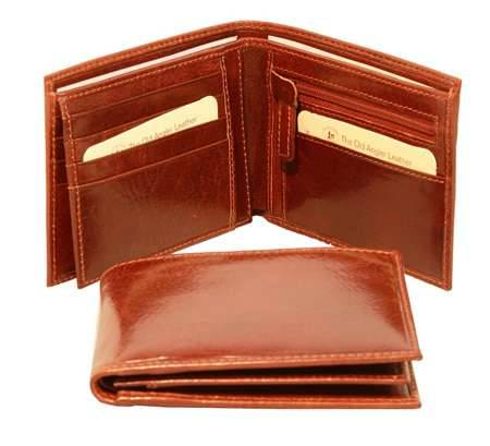 Men's leather wallet with coin pocket - Brown