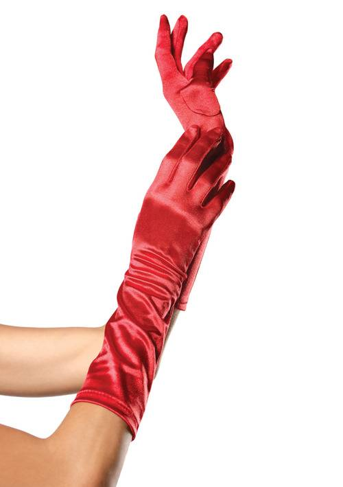 leg avenue guanti elbow length satin glove rossi