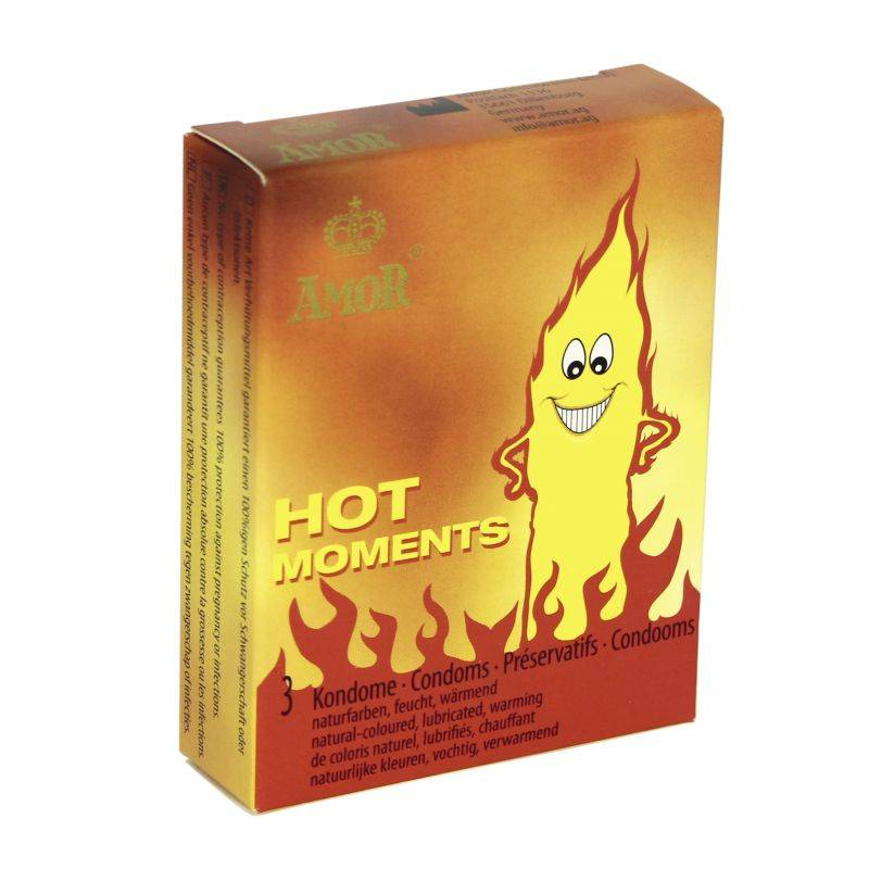 AMOR CONDOMS Profilattici effetto caldo amor hot  moments 3 pz