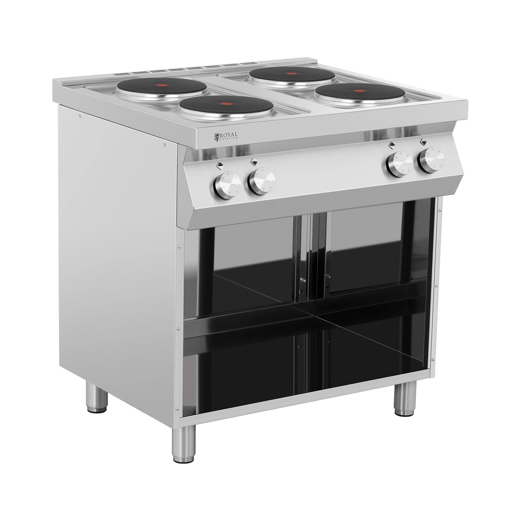 royal catering cucina elettrica professionale - 10.400 w - piano cottura con 4 fornelli - con mobiletto rc-ec4oc
