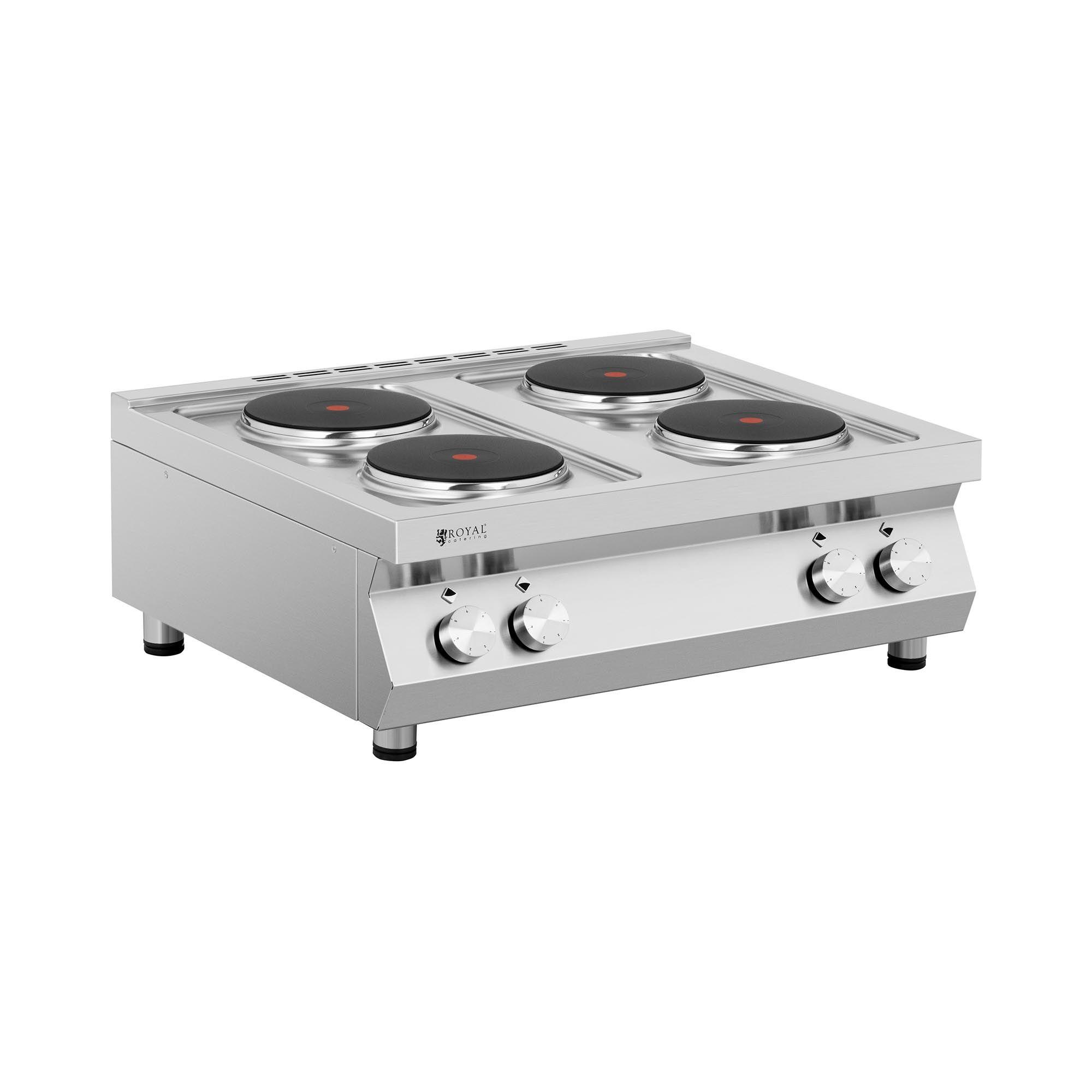 royal catering cucina elettrica professionale - 10.400 w - piano cottura con 4 fornelli rc-ecp4t