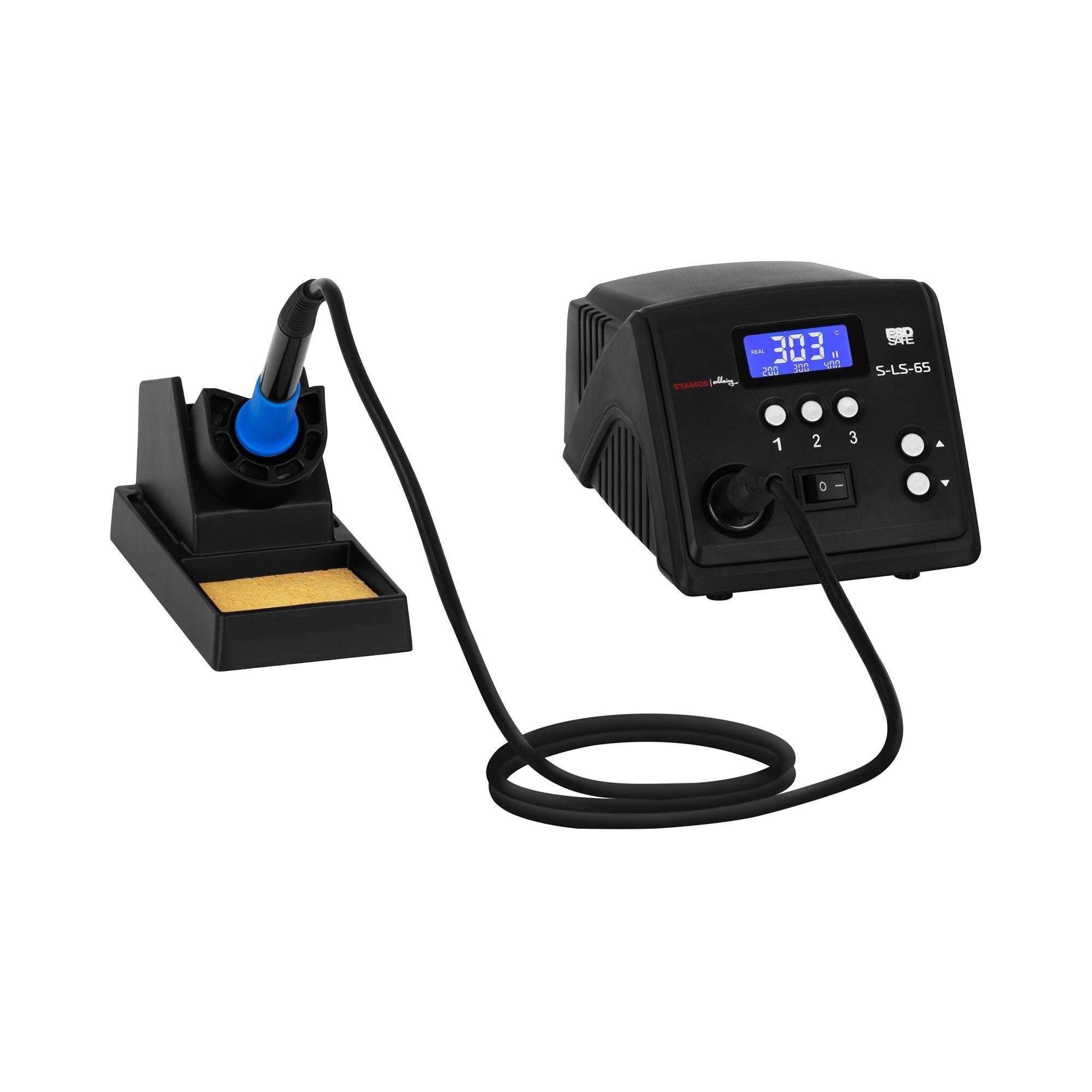 stamos soldering stazione saldante digitale - con saldatoio e supporto per saldatoio - 60 w - lcd s-ls-65