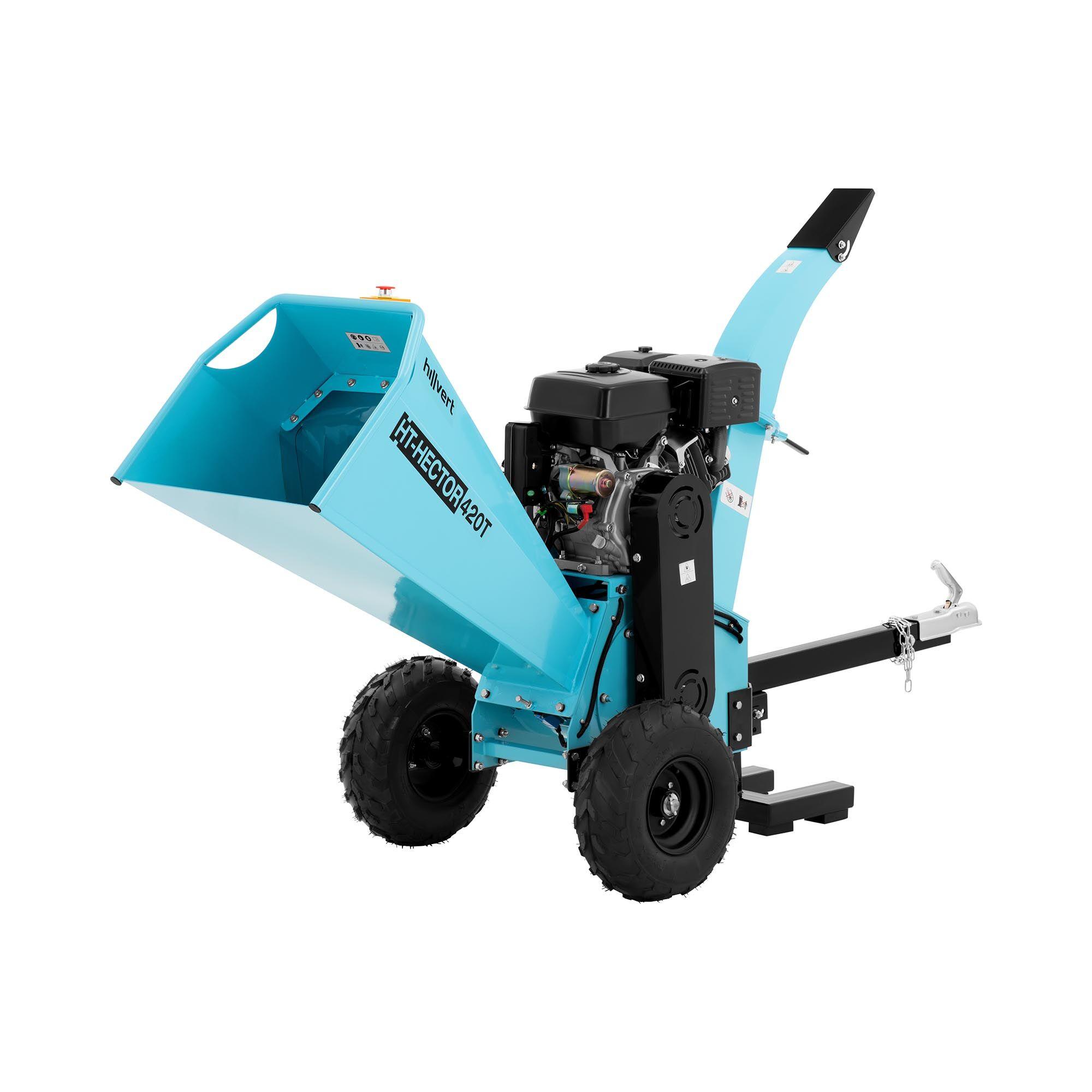 hillvert biotrituratore a scoppio - motore a benzina 15 cv - rami, foglie e legno fino a 120 mm ht-hector 420t