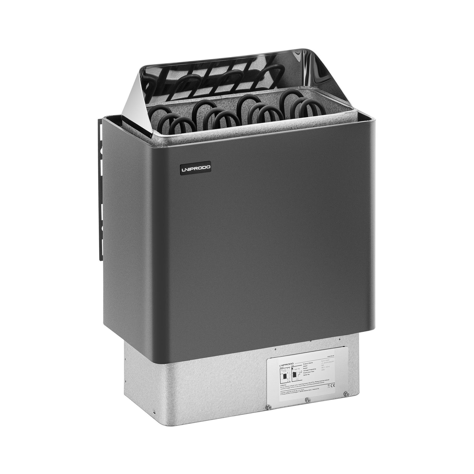 Uniprodo Stufa elettrica per sauna - 6 kW - da 30 a 110 °C UNI_SAUNA_G6.0KW