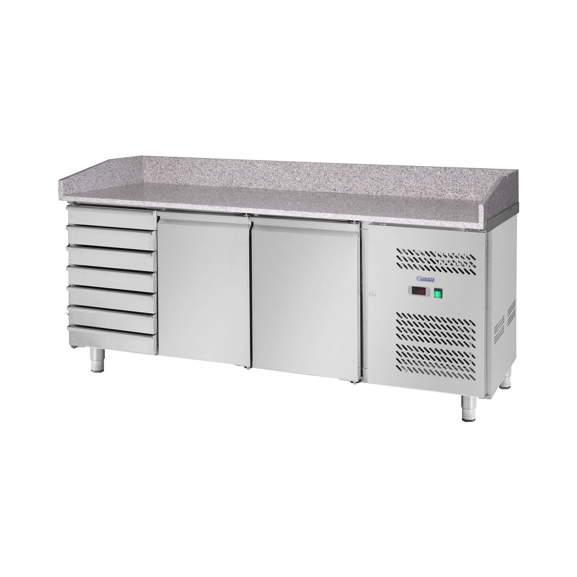royal catering banco pizza - 580 l - tavolo di lavoro in granito - 2 ante rckt-202/80
