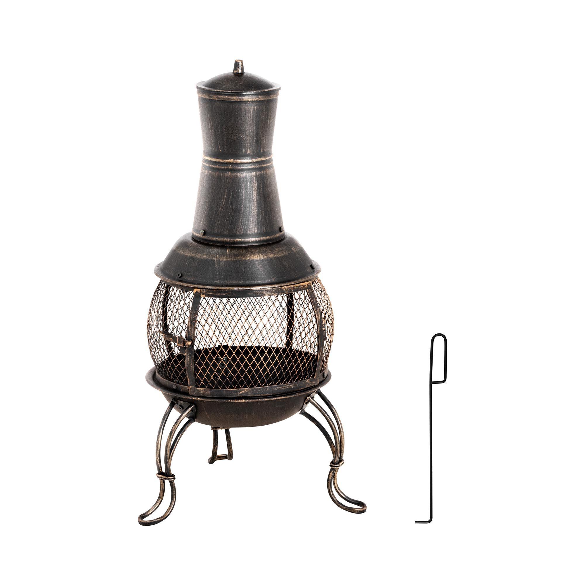 uniprodo stufa a legna da esterno in acciaio - 90 cm - 360° uni_g_chimney_06