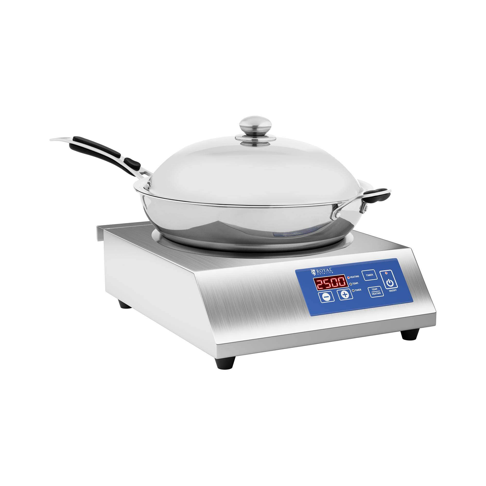 royal catering piastra per wok a induzione - wok incluso - Ø 36 cm - 60 a 240 °c - timer - per uso professionale