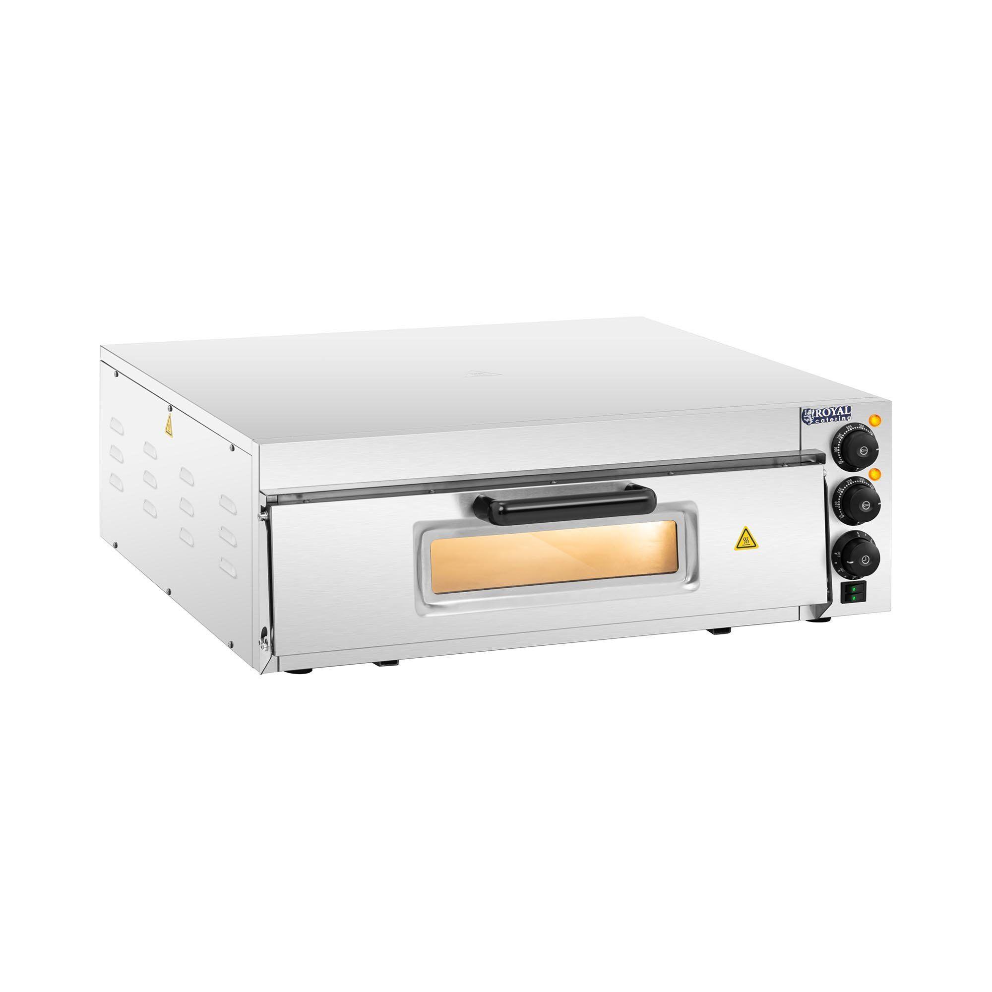 Royal Catering Forno per pizza elettrico professionale - 1 camera - Ø 60 cm - Porta in vetro RCPO-2000-60-1