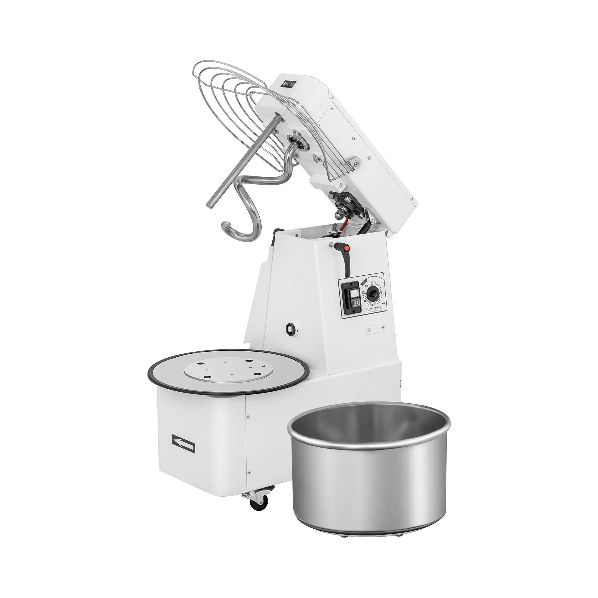 Royal Catering Impastatrice professionale a spirale - 32 litri - 88 kg/h - 1.100 W - Testa pieghevole RC-SMRH30