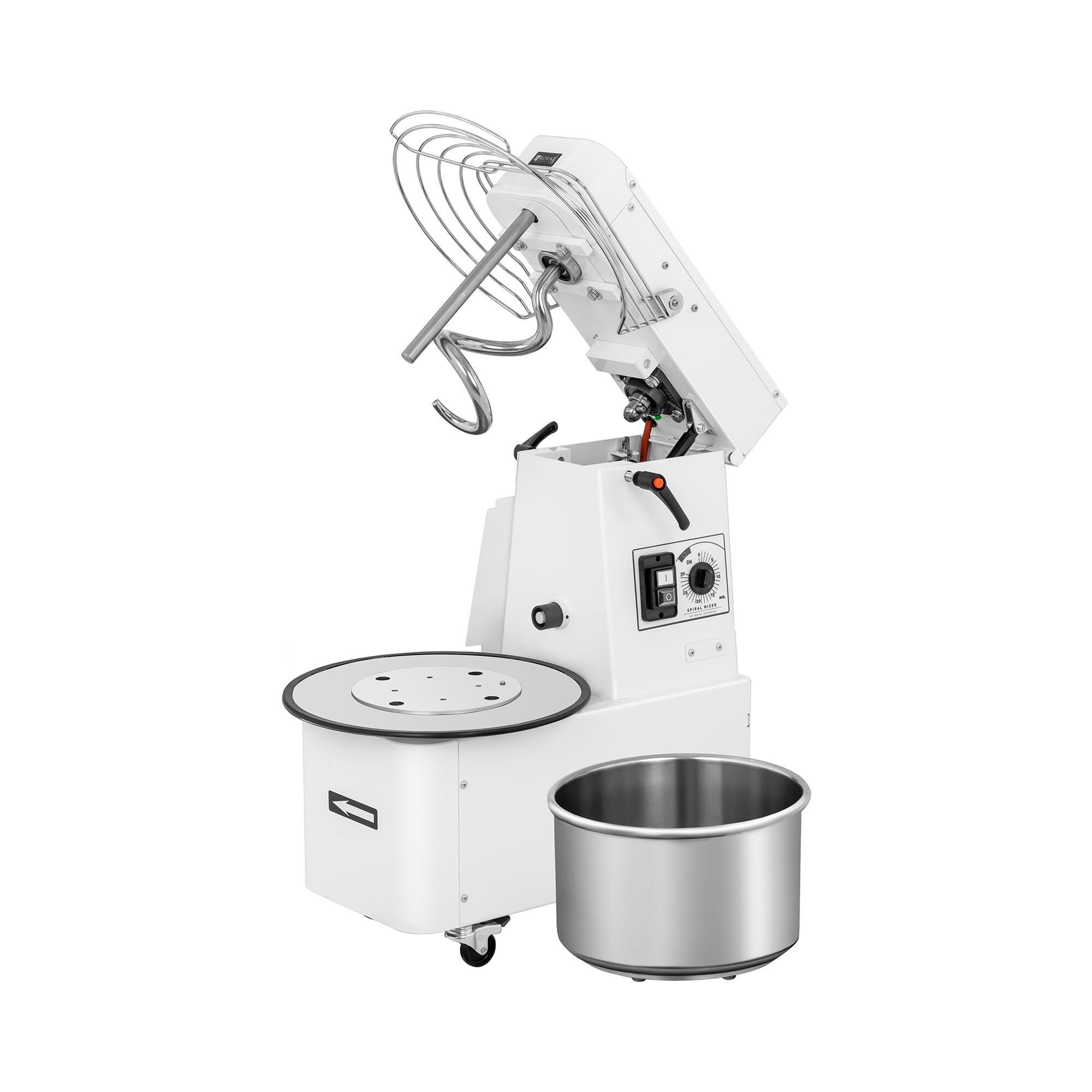 Royal Catering Impastatrice professionale a spirale - 15 litri - 48 kg/h - 750 W - Testa pieghevole RC-SMRH15