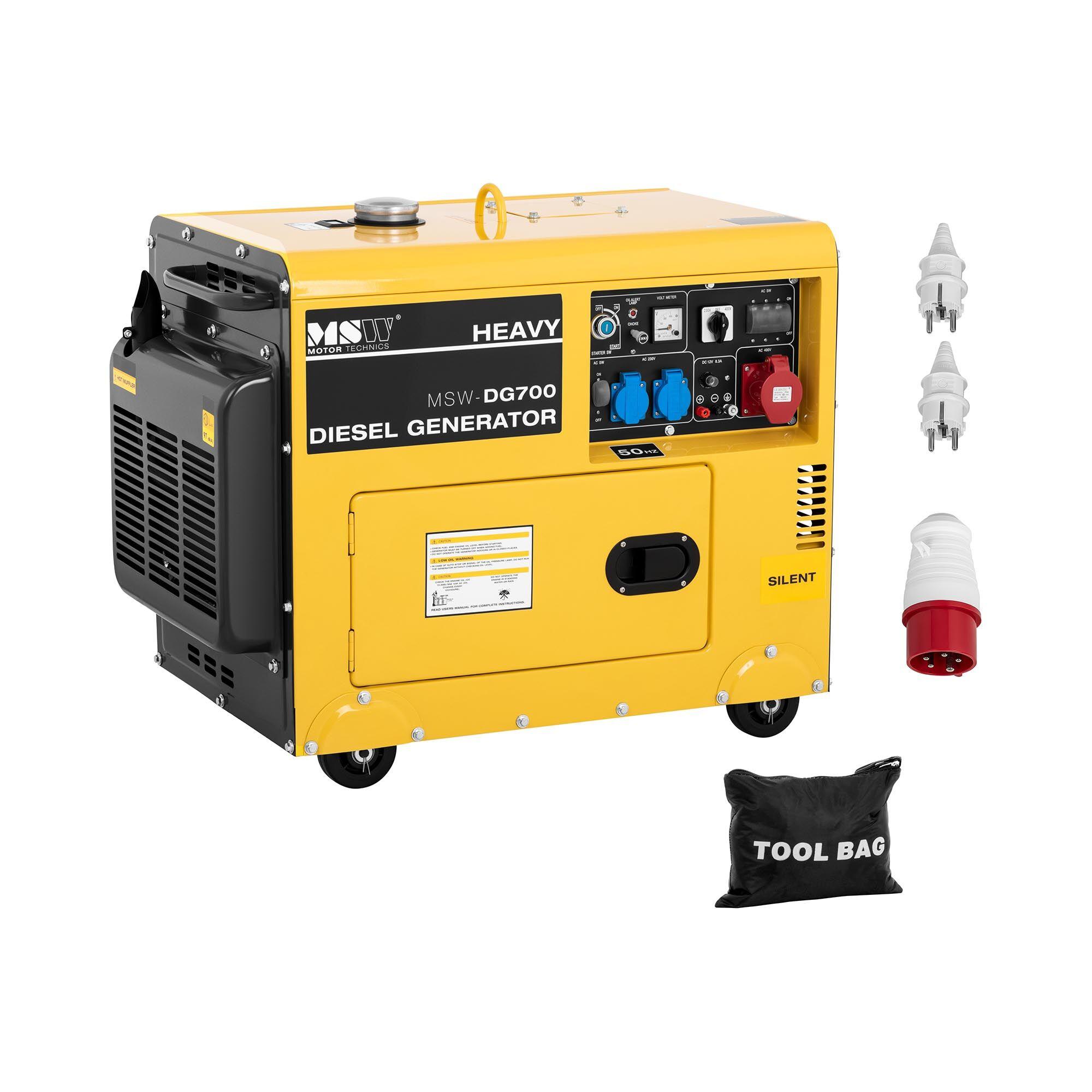 MSW Gruppo elettrogeno diesel - 4.400 W - 14,5 L - 230/400 V -DG700