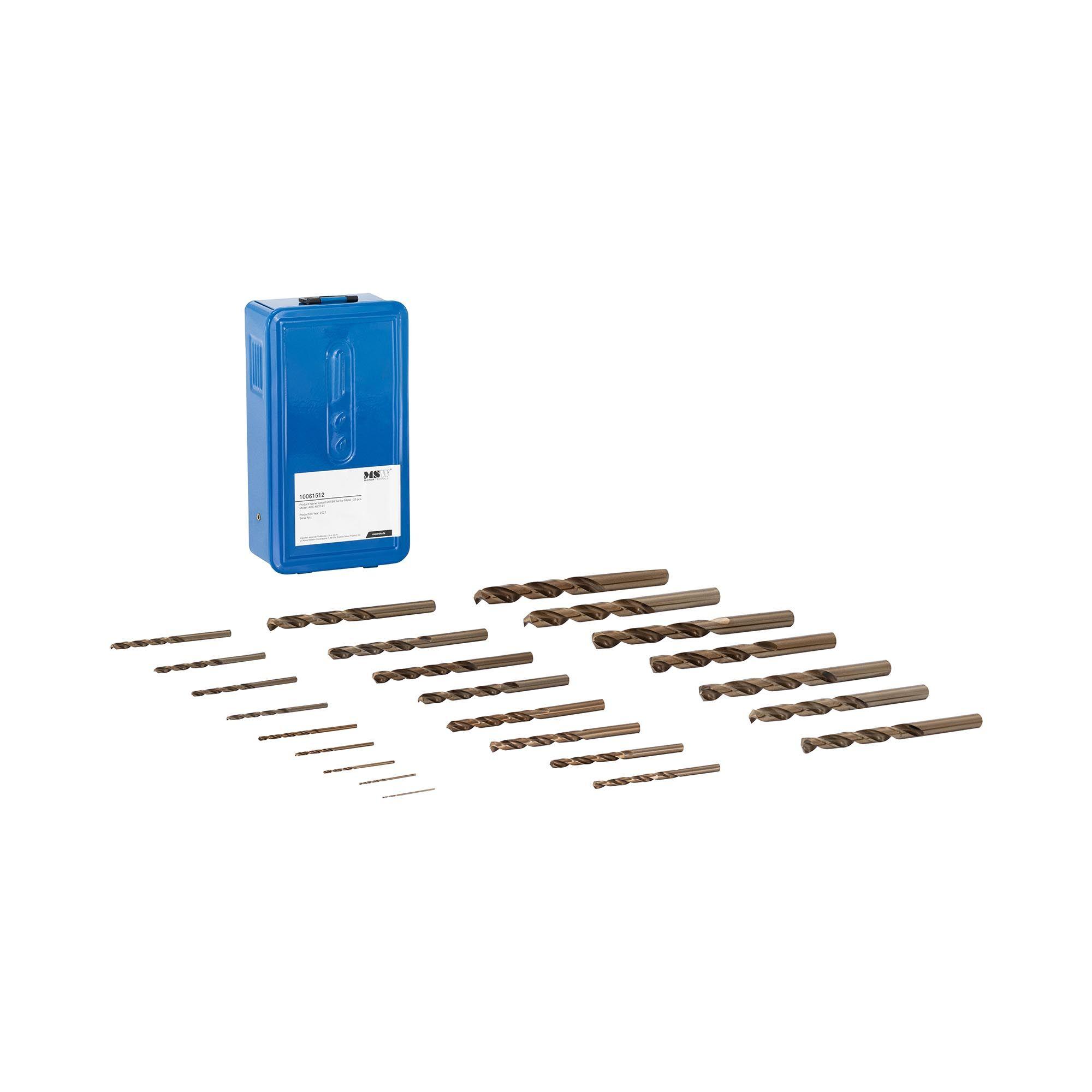 MSW Set punte trapano in cobalto - Per ferro, acciaio inox e altri metalli duri - Acciaio HSS - 25 pezzi ACC-MDC-01