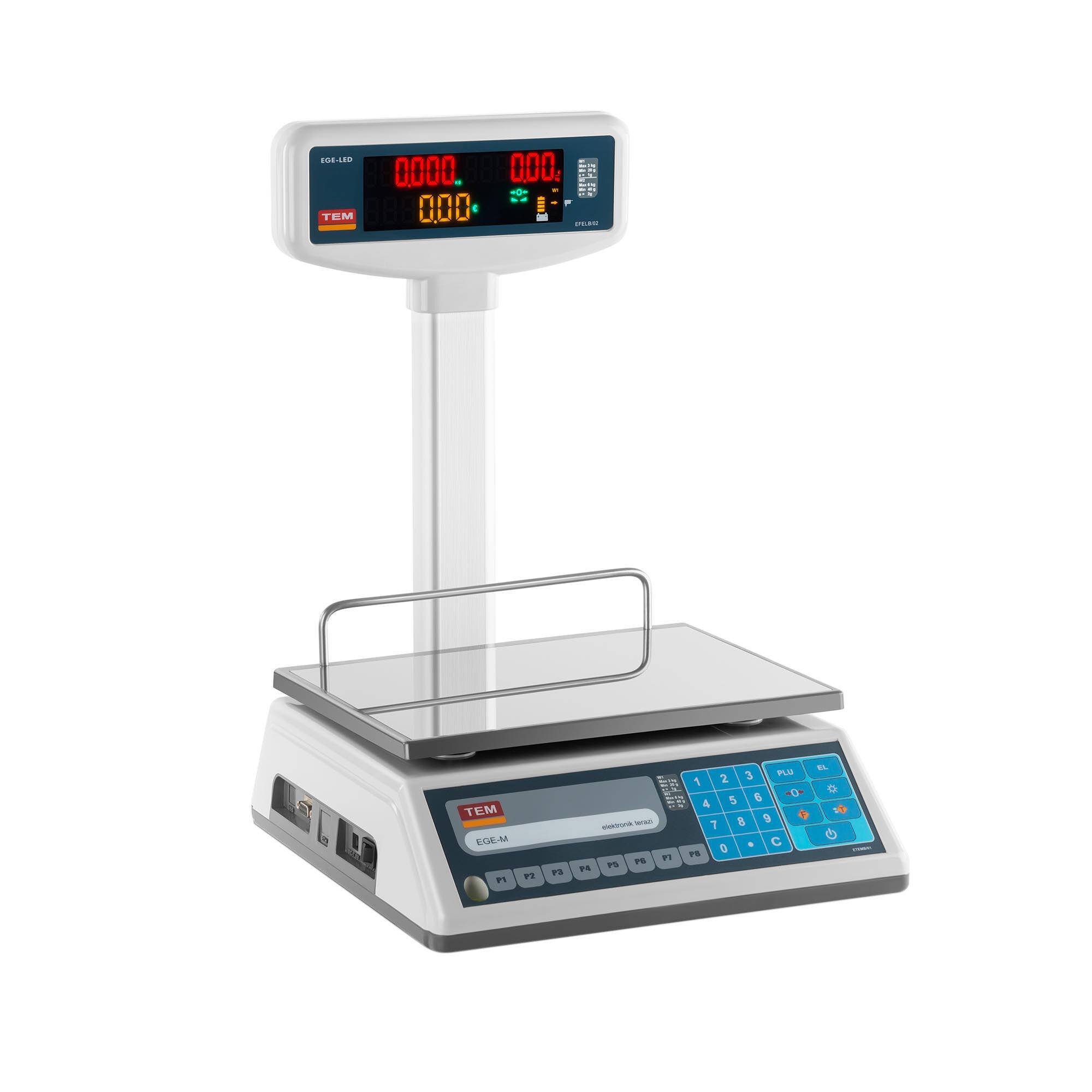 TEM Bilancia da banco prezzatrice con diplay LED alto - tarabile - 3 kg/1 g - 6 kg/2 g TEL006B1D-V2-B1