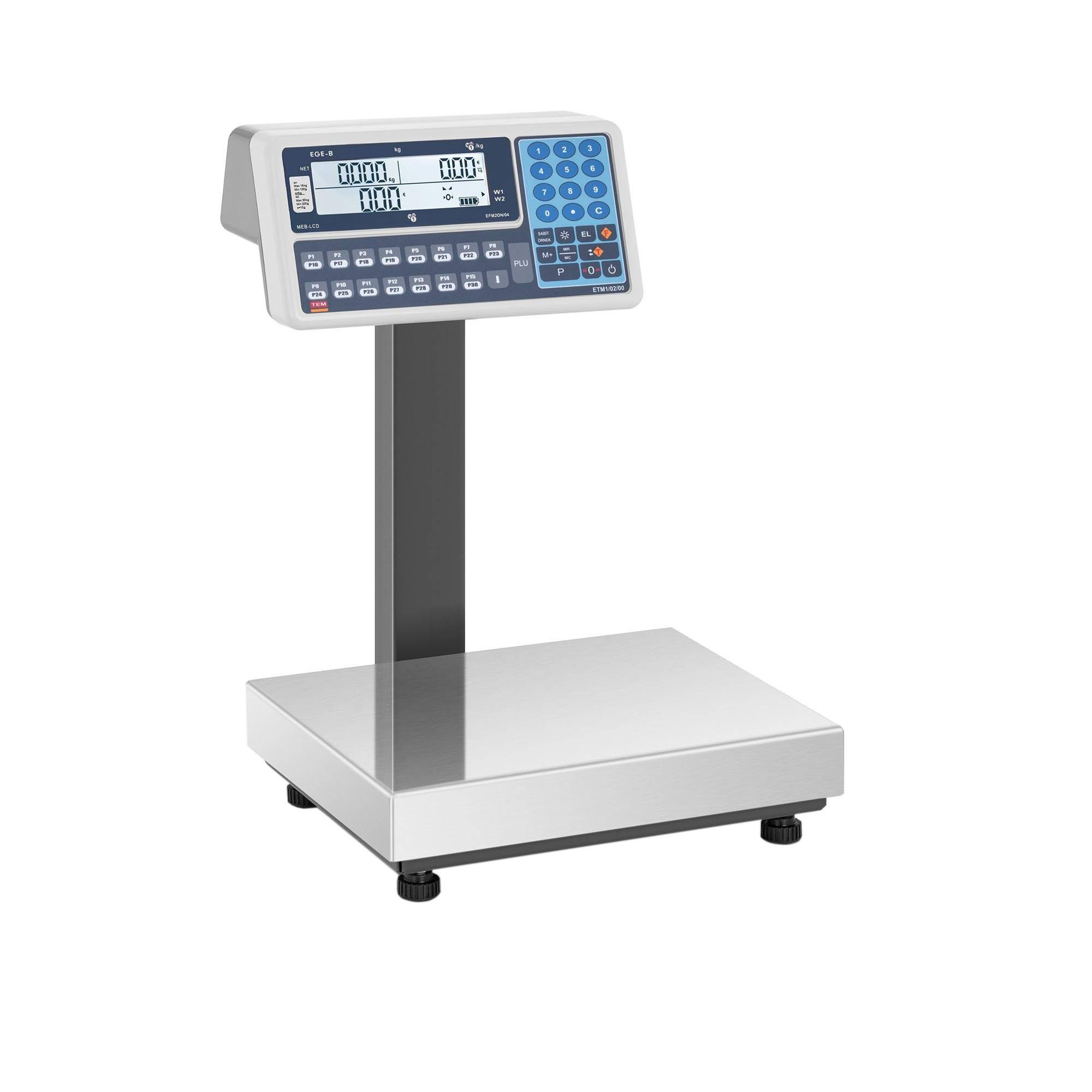 TEM Bilancia da banco prezzatrice - tarata - 30 kg - Duale LCD BE2TA028X035030-B1