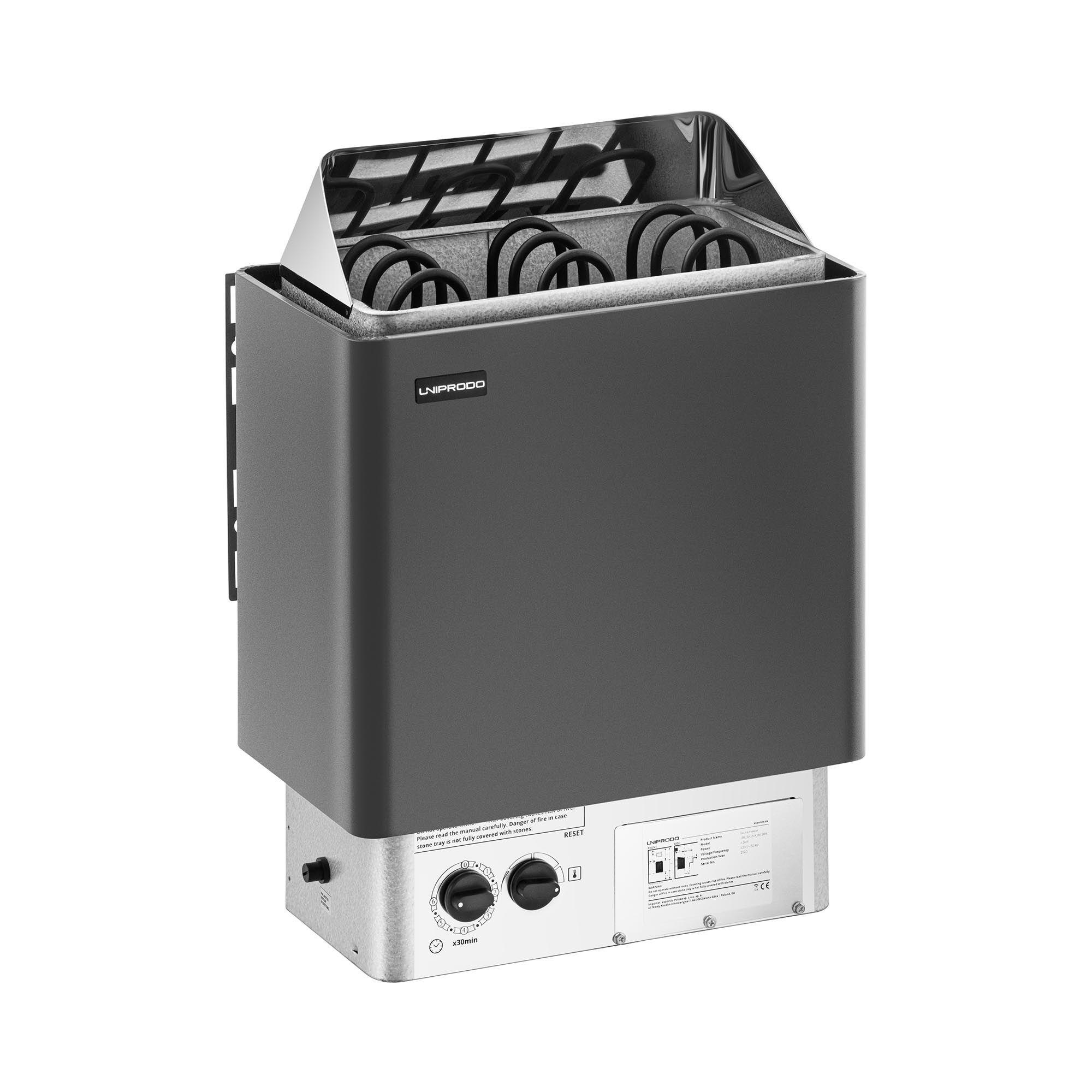 Uniprodo Stufa elettrica per sauna - 4,5 kW - 30-110 °C - controllo incluso UNI_SAUNA_B4.5KW