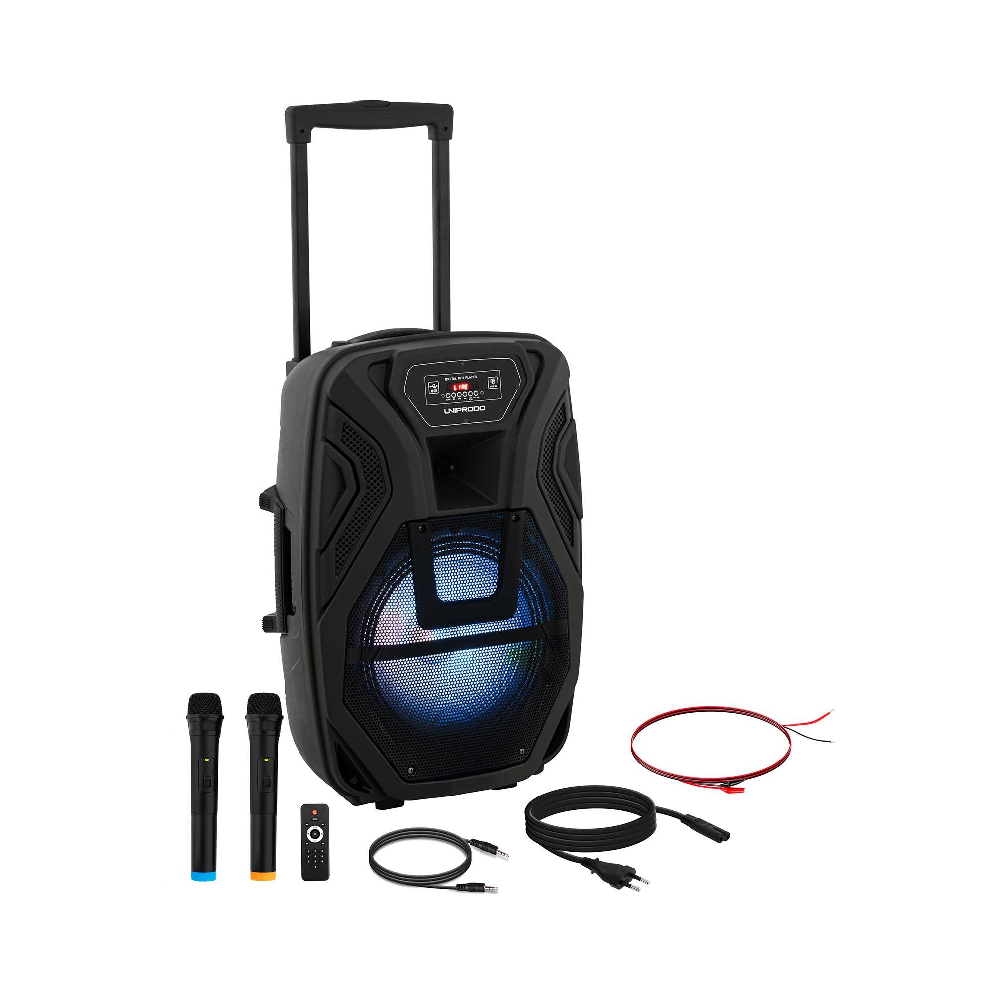Uniprodo Cassa amplificata portatile - 2 microfoni - telecomando - 40 W CON.PAS12-01