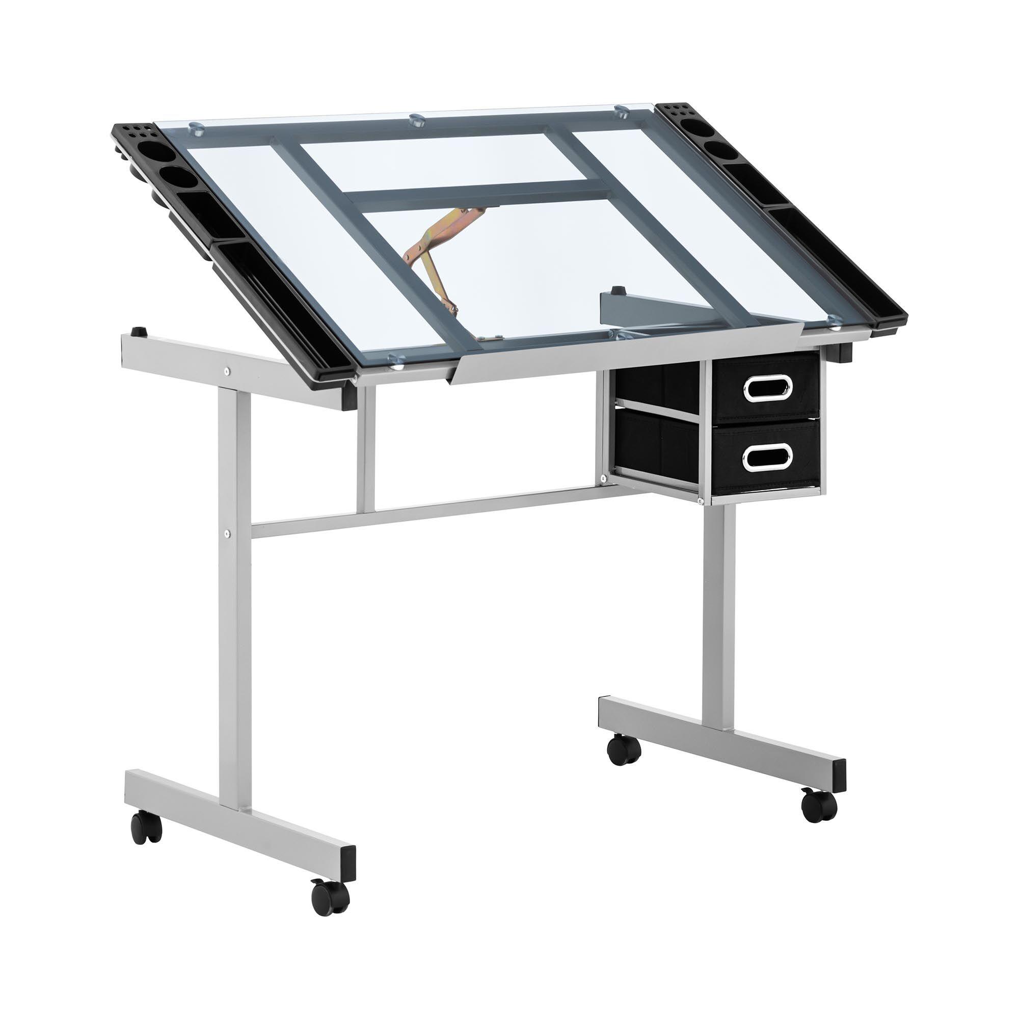 Fromm & Starck Tavolo da disegno inclinabile - 104 x 60 cm - Regolabile in altezza - Piano in vetro STAR_DESK_10