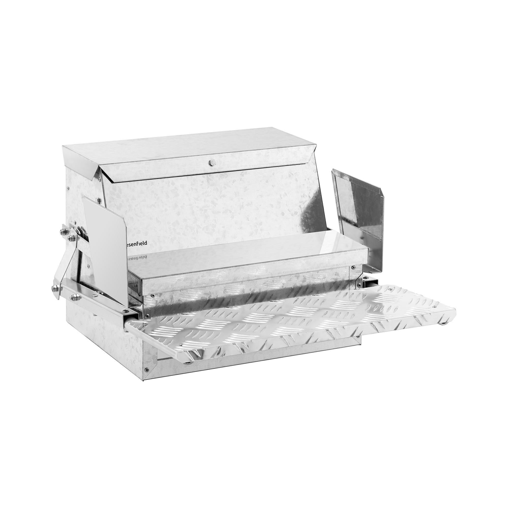 Wiesenfield Mangiatoia per galline, polli e pulcini automatica - Sistema antispreco e antitopo - 11,5 kg - Pedana minimo 400 g WI-CF-150