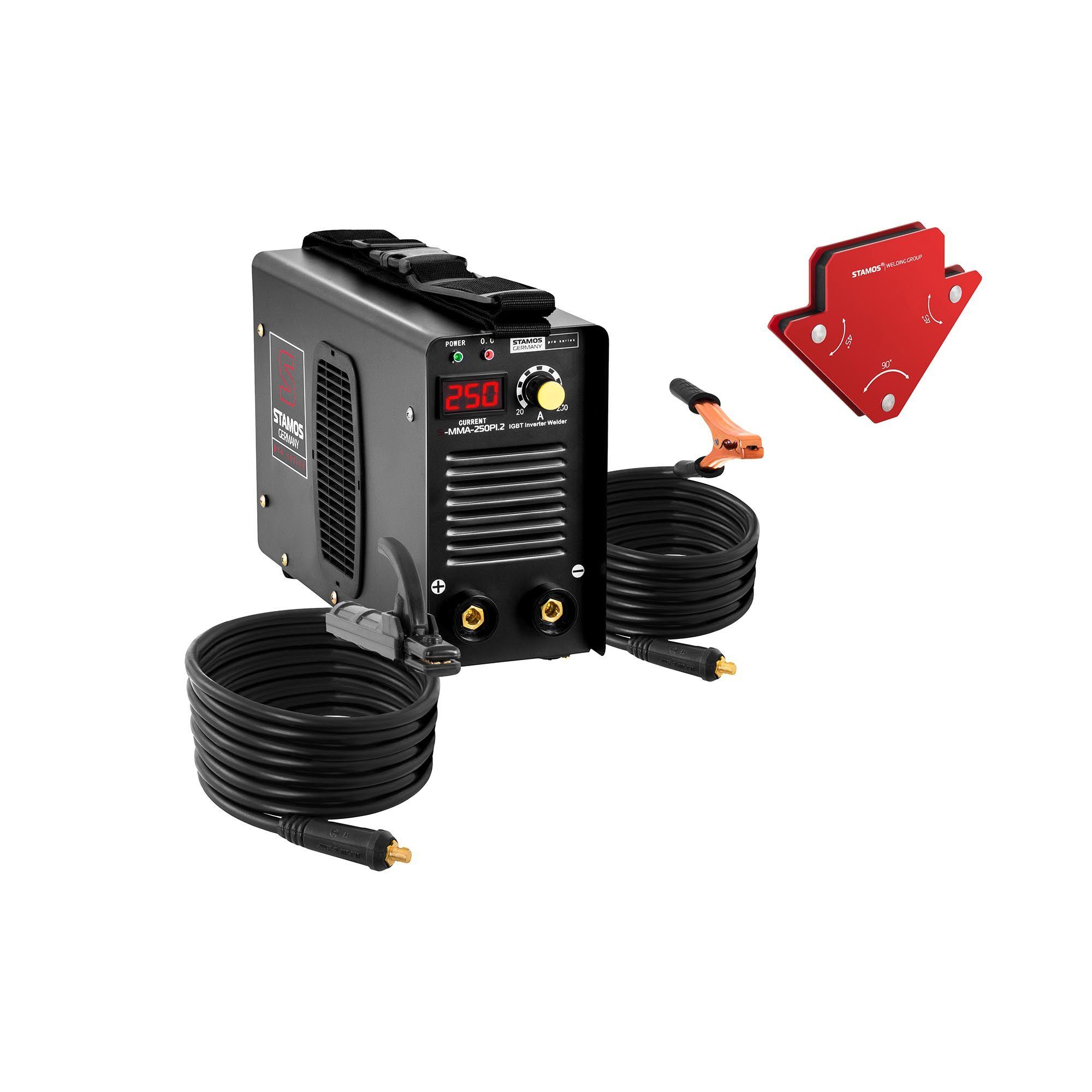 stamos pro series saldatrice mma - set con 2 angoli magnetici per la saldatura - 250 a - cavo 8 m - hot start s-mma-250pi.2-set-1