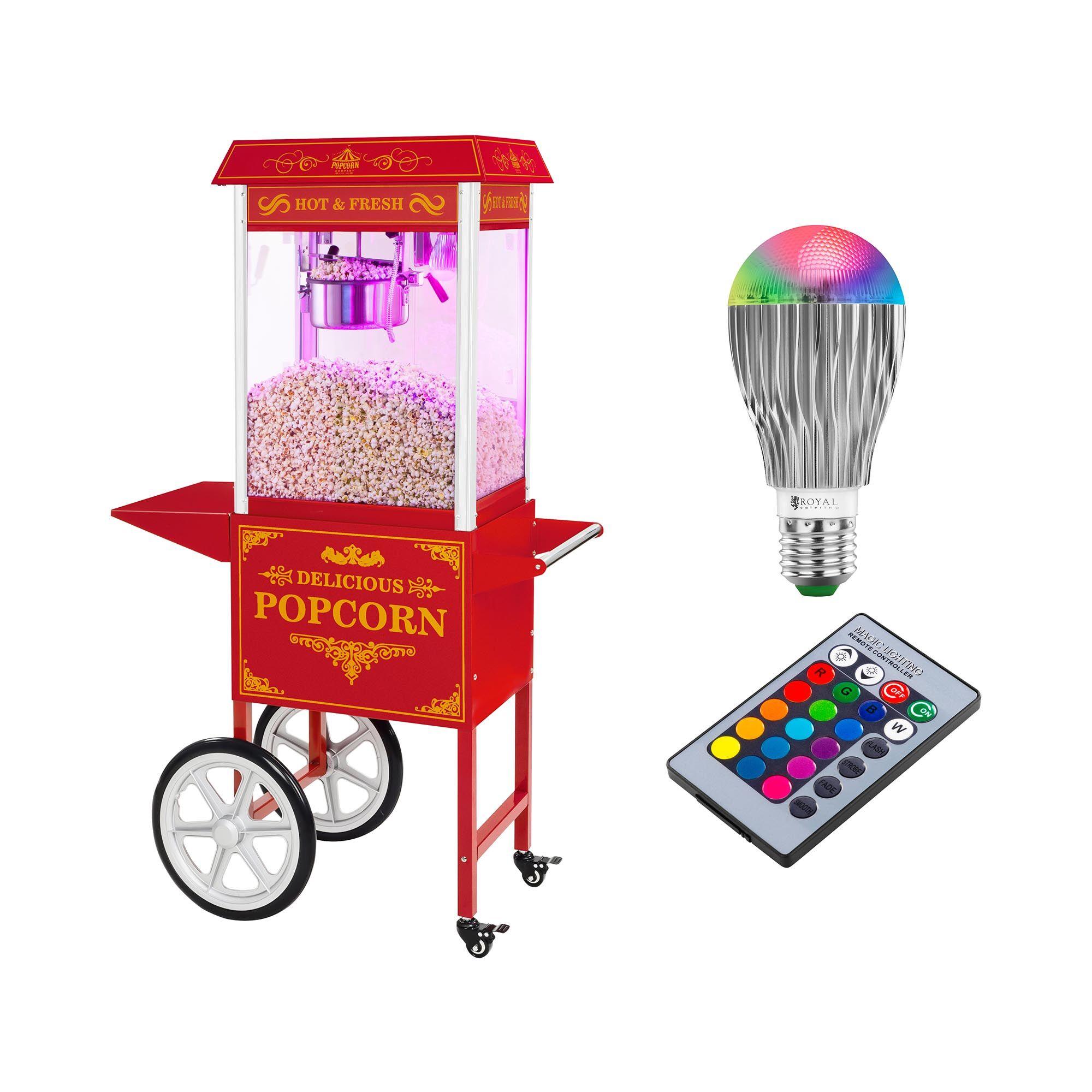 royal catering set macchina per pop corn con carrello e lampadina led - design rétro - rosso rcpw-16.3 popcorn machine led set