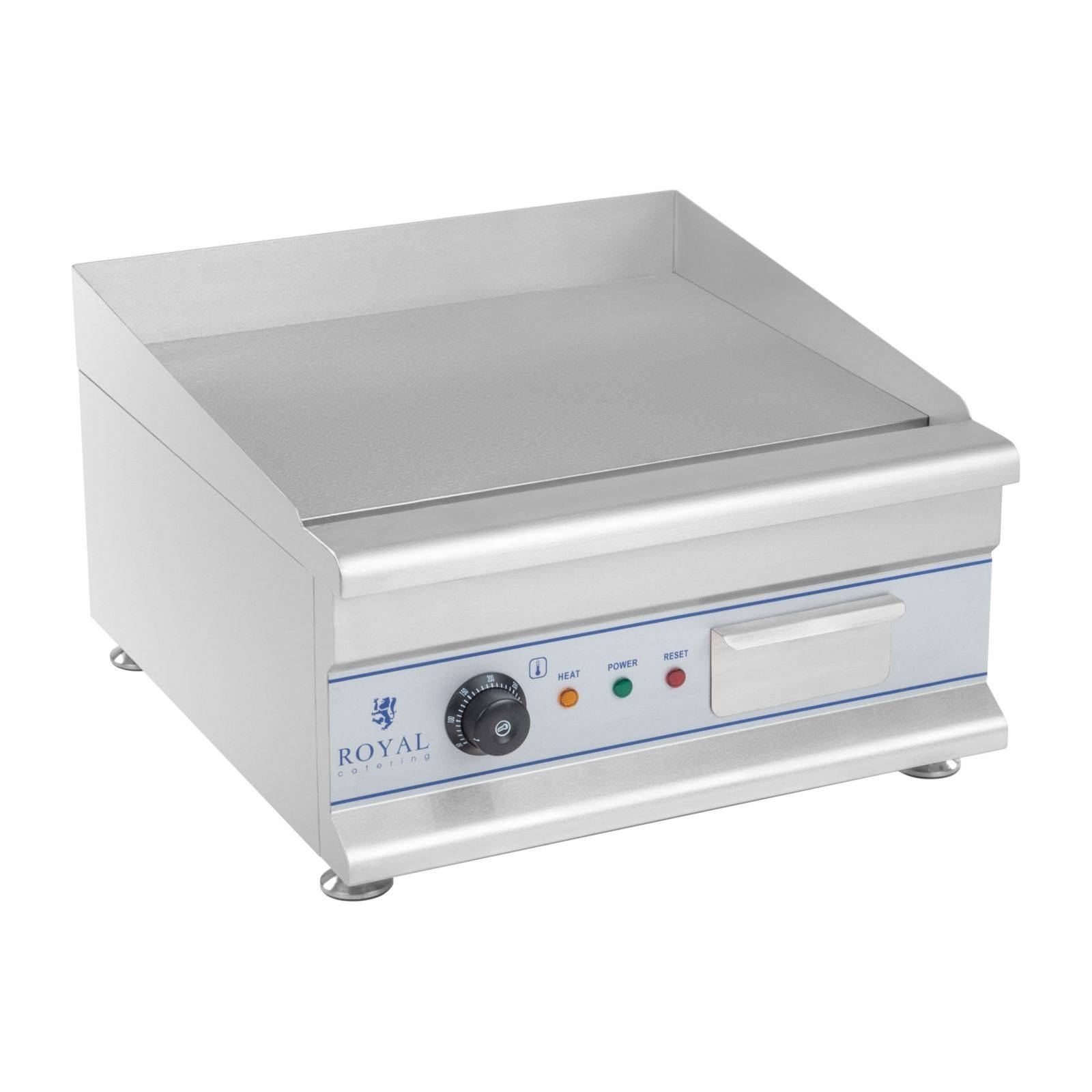 royal catering fry top liscio elettrico - 50 cm - 1 x 3.2 kw - per uso professionale