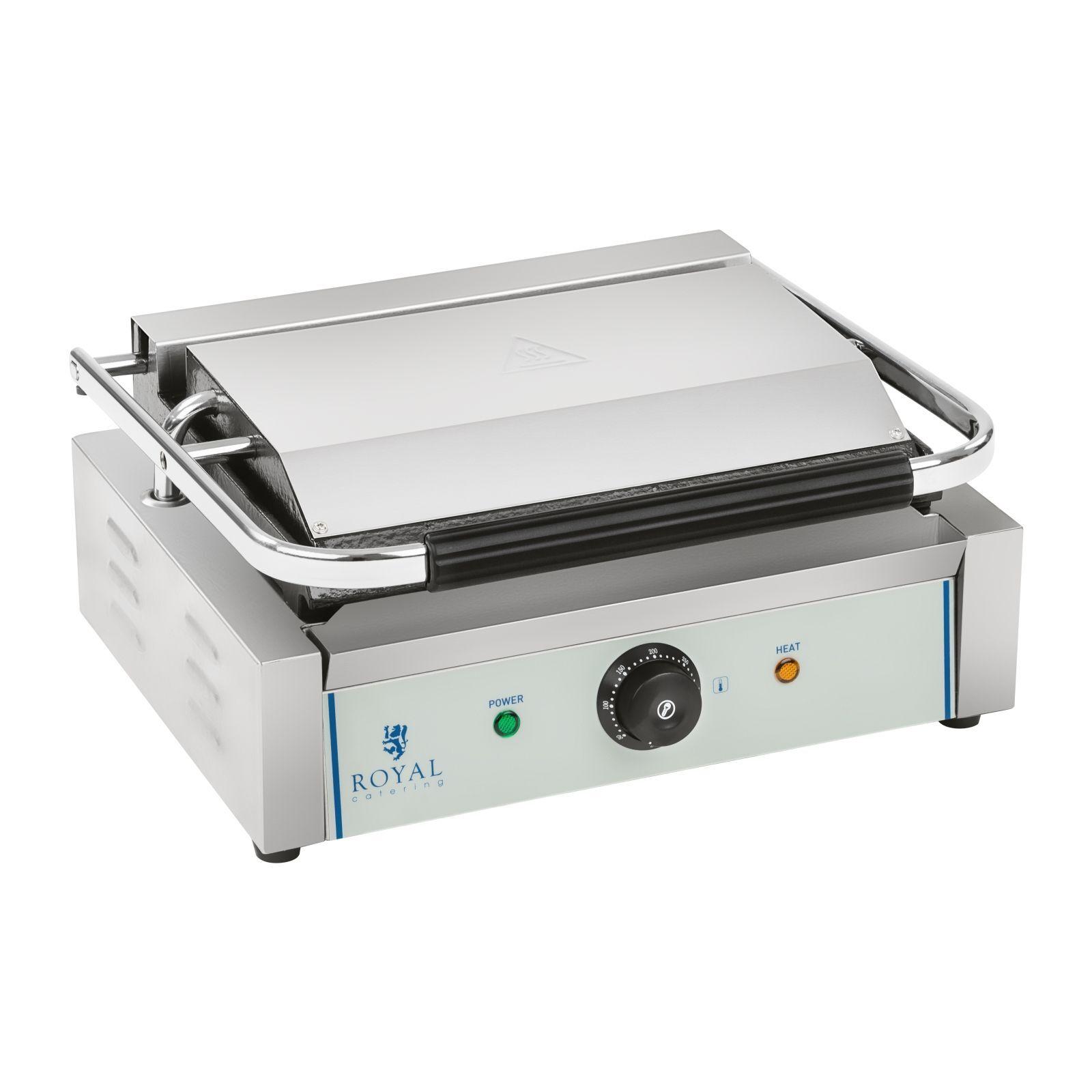 Royal Catering Piastra panini - 1 x 2.200 Watt - rigato RCKG-2200-G