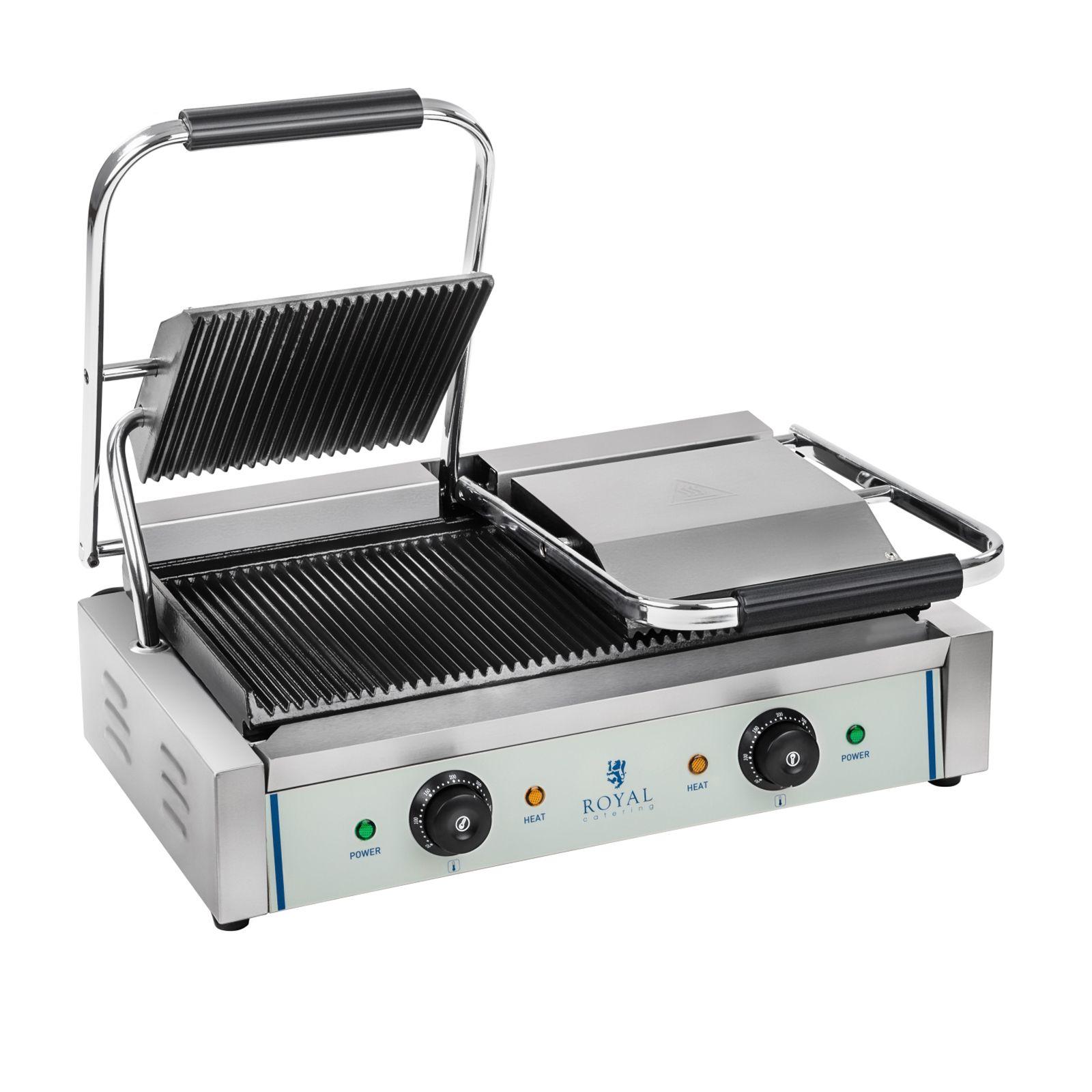 Royal Catering Piastra panini - 2 x 1.800 Watt - rigato - 2.0 RCKG-3600-G