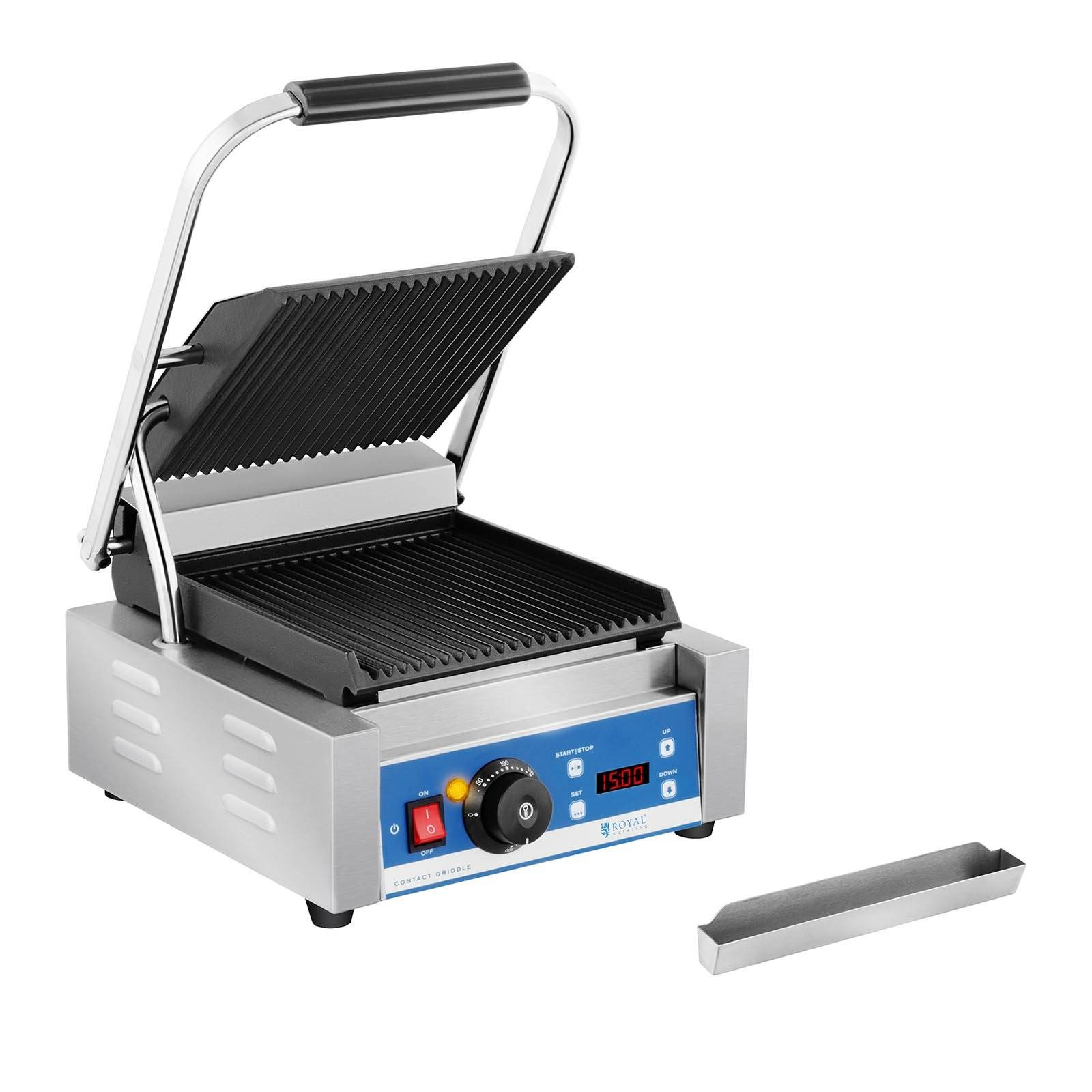 Royal Catering Piastra per panini - rigata - timer - 1.800 W RCKG-2200-GY