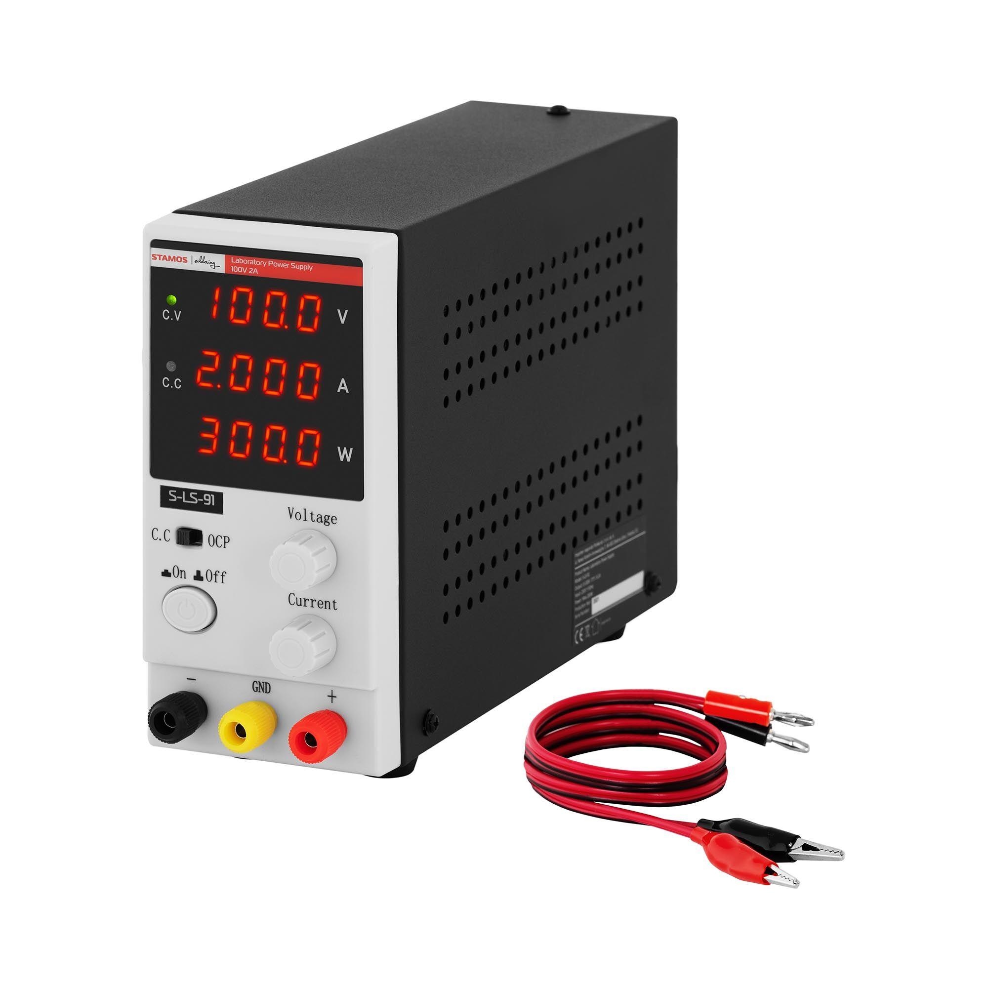 stamos soldering alimentatore da banco - 0 - 100 v - 0 - 2 a cc - 200 w - 4 cifre led - display s-ls-91