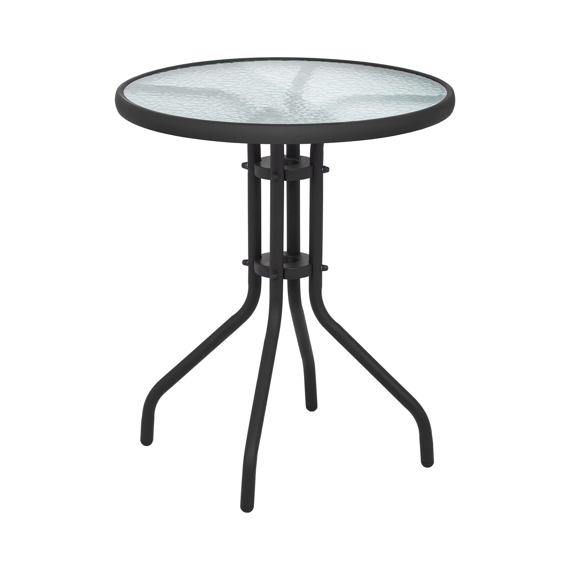Uniprodo Tavolo da giardino rotondo - Ø 60 cm - Piano in vetro - Nero UNI_TABLE_01