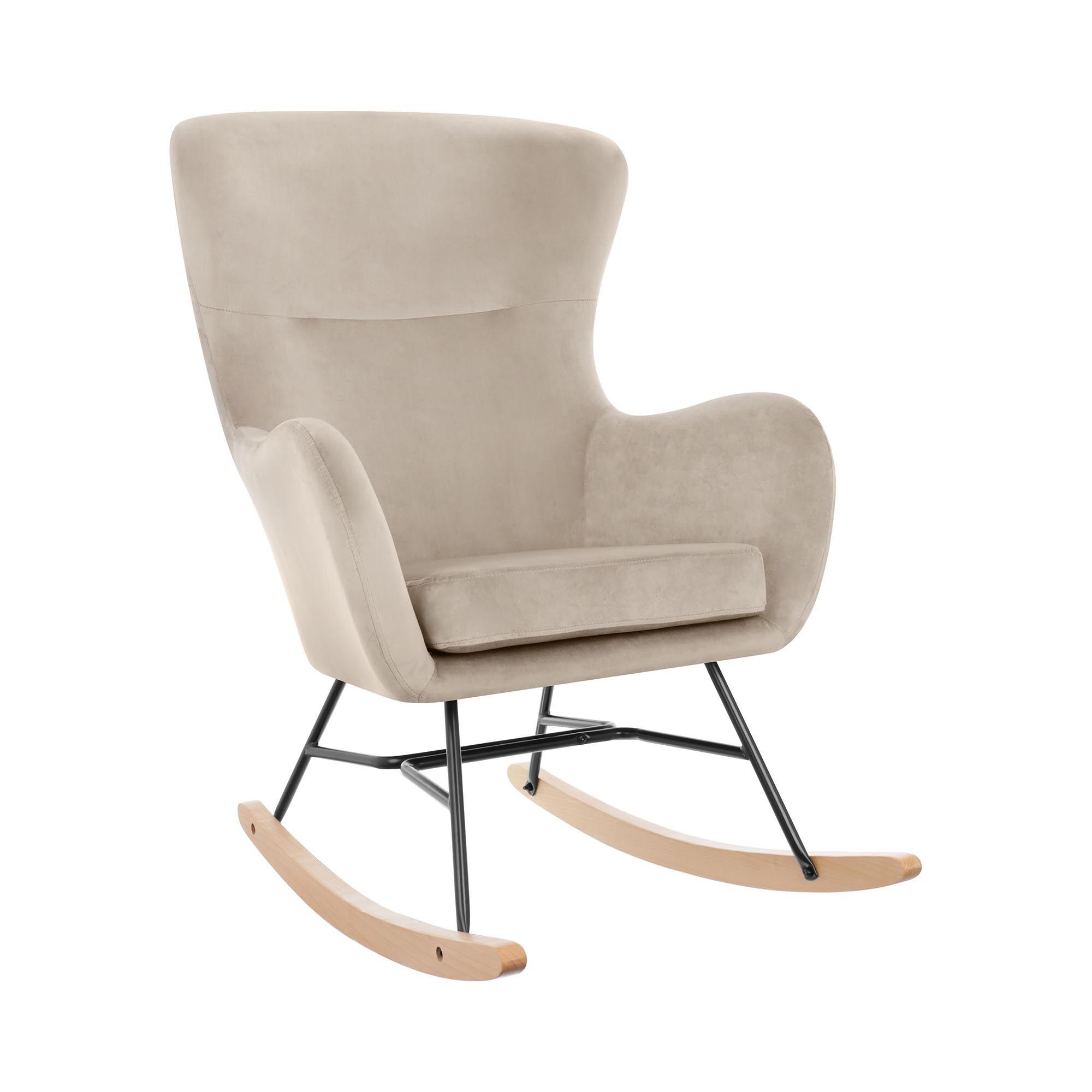 fromm & starck sedia a dondolo imbottita in velluto - legno di faggio - grigia star_con_200
