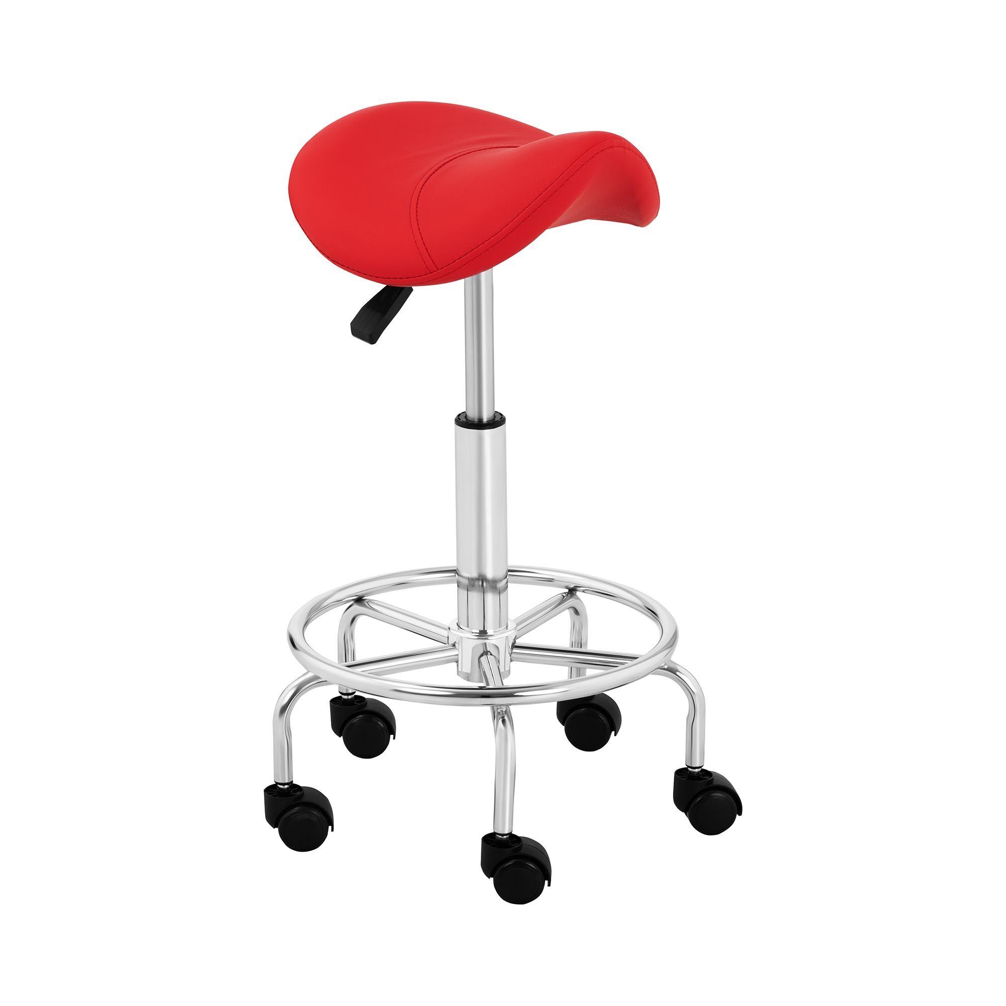 physa Sgabello per estetiste e parrucchieri - Con rotelle e sella di cavallo - FRANKFURT RED