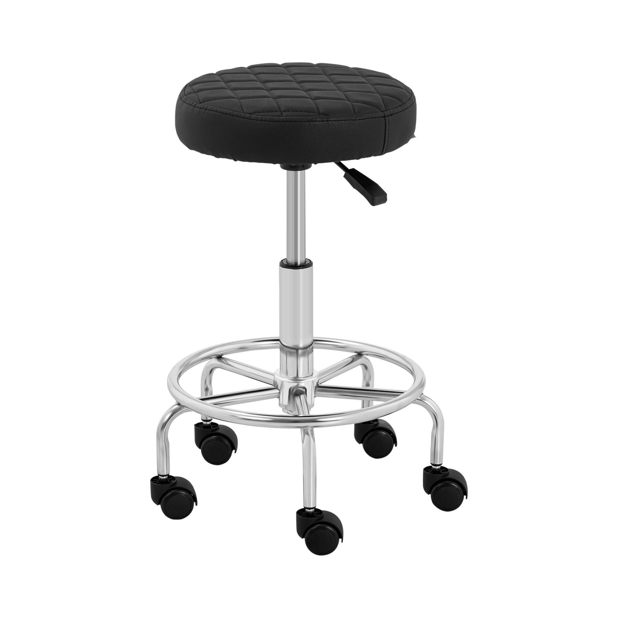 physa sgabello regolabile in altezza per estetista, pedicure e parrucchieri - con rotelle e seduta rotonda  stuttgart black